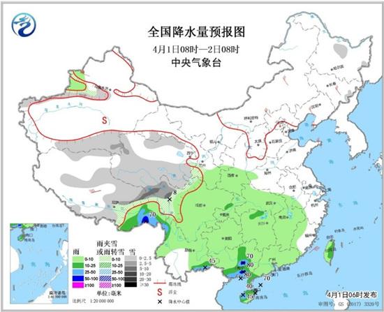 江南华南等地将有较强降水青藏高原东部有中到大雪